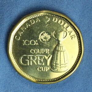 CANADA 2012 LOONIE FROM A MINT ROLL   SPECIAL ANNIVERSARY GREY CUP REVERSE