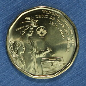 CANADA 2016 LOONIE   COMMEMORATIVE WOMEN'S VOTE REVERSE   FROM A MINT ROLL
