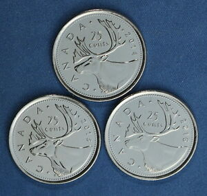 CANADA 2014 2015 AND 2016  QUARTERS  25 CENTS  FROM MINT ROLLS