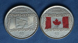 CANADA 2015 ANNIVERSARY OF THE FLAG QUARTERS  2 25 CENTS  FROM A MINT ROLL
