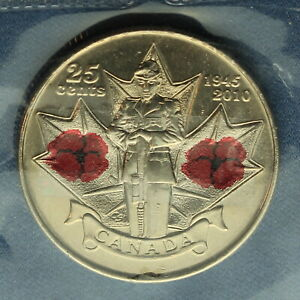 CANADA 2010 REMEMBRANCE DOUBLE POPPY QUARTER    BUSINESS STRIKE FROM MINT PACK