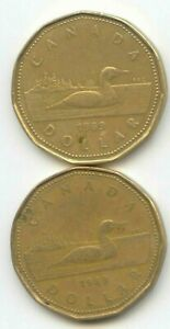 CANADA 1989 X2 LOONIES LOONIE CANADIAN ONE DOLLAR 1 COIN $1 EXACT COINS SHOWN