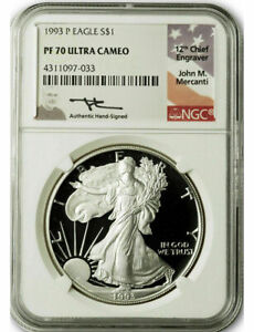 Click now to see the BUY IT NOW Price! 1993 P $1 PROOF SILVER EAGLE NGC PF70 ULTRA CAMEO JOHN MERCANTI SIGNED