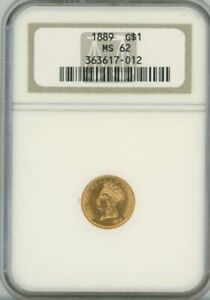 1889 G$1 GOLD DOLLAR NGC MS 62 LAST YEAR OF ISSUE