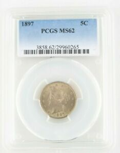 1897 5C LIBERTY NICKEL GRADED BY PCGS AS MS62  GORGEOUS COIN