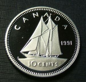 1991 CANADA 10 CENTS PROOF