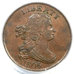 Click now to see the BUY IT NOW Price! 1806 C 2 R 4 PCGS AU 55 CAC SMALL 6 STEMS DRAPED BUST HALF CENT COIN 1/2C