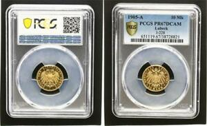 Click now to see the BUY IT NOW Price! LBECK 10 MARK 1905A SPCIMEN SUPERBE FIN POLI PLAQUE PCGS PR67DCAM