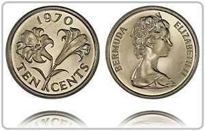 BERMUDA 10 CENTS 1970  PROOF   LOW MINTAGE