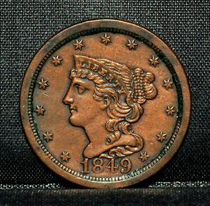 1849 BRAIDED HAIR HALF CENT  AU ALMOST UNC DETAILS  1/2C CLEANED C91 TRUSTED