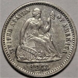 1873 SEATED HALF DIME CHOICE ALMOST UNCIRCULATED H10C COIN FROM OLD COLLECTION