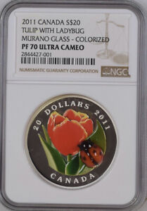 Click now to see the BUY IT NOW Price! 2011 CANADA NGC PF 70 ULTRA CAMEO $20 TULIP WITH LADYBUG 1 OZ SILVER COIN