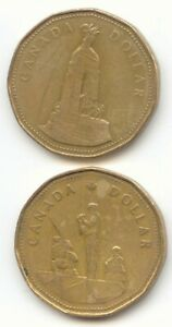 CANADA 1994 CENOTAPH   1995 PEACEKEEPING LOONIE CANADIAN ONE DOLLAR 1 $1 2 COINS