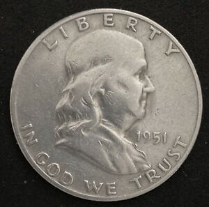 1951 S FRANKLIN HALF DOLLAR 90  SILVER COIN REPUNCHED MINTMARK ERROR  1842