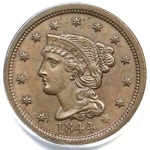 Click now to see the BUY IT NOW Price! 1844 N 1 PCGS MS 63 BN CAC BRAIDED HAIR LARGE CENT COIN 1C