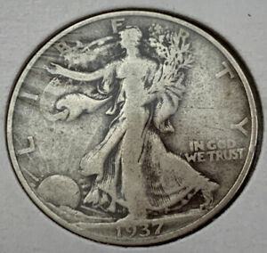 1937 S WALKING LIBERTY HALF DOLLAR F NICE COIN WITH FULL DATE AND FULL RIMS
