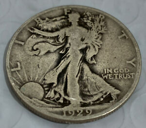 1929 D WALKING LIBERTY HALF DOLLAR  90   SILVER VF  GREAT DETAIL   NICE COIN