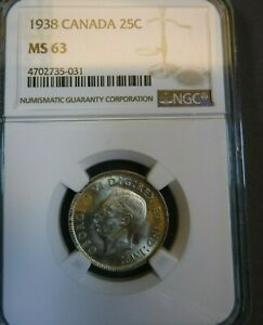 1938 CANADA 25 CENT NGC MS63 CERTIFIED CHOICE UNCIRCULATED QUARTER DOLLAR C