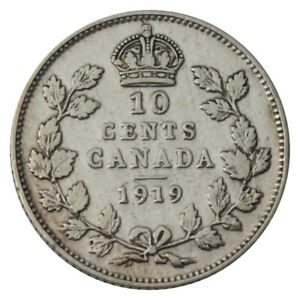 CANADA 10 CENTS SILVER KM 23 KING GEORGE V 1919