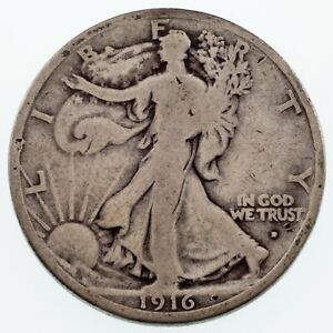 1916 D 50C WALKING LIBERTY HALF DOLLAR IN VG CONDITION NATURAL COLOR BOTH SIDES
