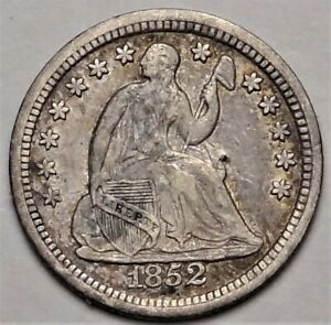 1852 SEATED HALF DIME LY FINE XF H10C COIN FROM OLD COLLECTION