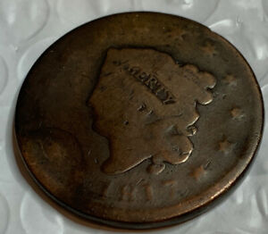 1817 MATRON HEAD LARGE CENT   TOUGH /  US EARLY COPPER COIN