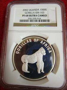 Click now to see the BUY IT NOW Price! UGANDA 2003 1000 SHILLINGS NGC PF68 ULTRA CAMEO GORILLA MONKEY HARAMBE PCGS ICG