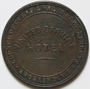 NEW ZEALAND 1874 ONE PENNY UNITED SERVICE HOTEL AUCKLAND COPPER TOKEN