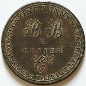 GREAT BRITAIN 1811 ONE PENNY B & B BRISTOL SWANSEA & LONDON COPPER TOKEN