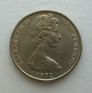 NEW ZEALAND COIN 50 CENT 1972 COPPER NICKEL 31.75MM