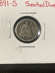 1891 S SEATED LIBERTY DIME