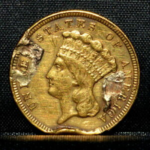 1854 $3 GOLD PIECE  VF DETAILS  FINE EX JEWELRY DAMAGED CLEANED TRUSTED