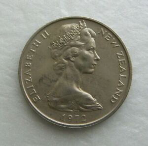 NEW ZEALAND COIN 20 CENT 1972 COPPER NICKEL 28.58MM