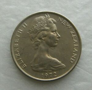 NEW ZEALAND COIN 10 CENT 1972 COPPER NICKEL 23.62MM