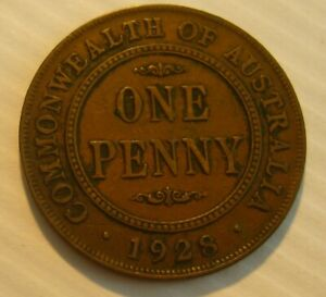 1928 AUSTRALIA ONE PENNY 1D GEORGE V   COIN
