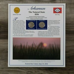 2003 ARKANSAS STATE QUARTER P&D POSTAL SOCIETY STAMPED COMMEMORATIVE PAGE