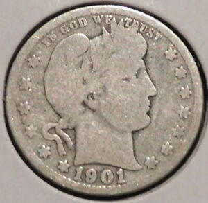 BARBER QUARTER   1901   HISTORIC SILVER    $1 UNLIMITED SHIPPING.
