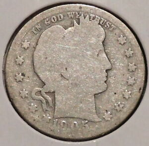 BARBER QUARTER   1905   HISTORIC SILVER    $1 UNLIMITED SHIPPING.