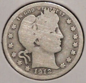 BARBER QUARTER   1912   HISTORIC SILVER    $1 UNLIMITED SHIPPING.