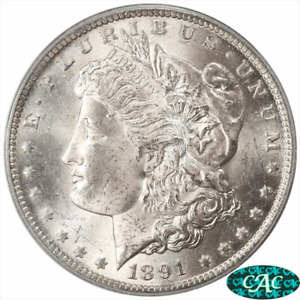1891 CC MORGAN SILVER DOLLAR PCGS MS62  CAC FROSTY SELECT UNCIRCULATED