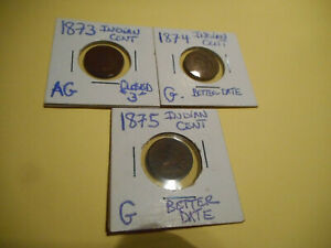 3  INDIAN HEAD CENTS 1873 1874 & 1875  BETTER DATES