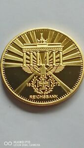 COLLECTABLE 1872 GERMAN THIRD REICH PARTY REICHBANK GOLD PLATED BULLION COIN