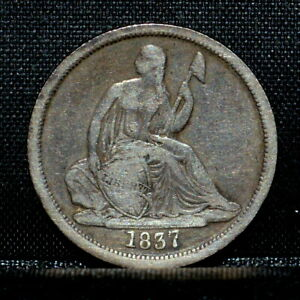 1837 P SEATED LIBERTY DIME  VF FINE DETAILS  10C NO STARS LARGE TRUSTED