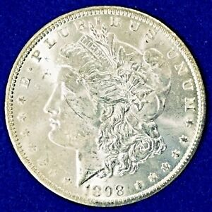 1898 O MORGAN DOLLAR LUSTROUS CH BU  WOULD BE GEM IF NOT FOR FACE SCRATCHES
