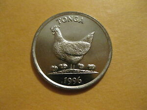 1996 TONGA COIN   HEN WITH CHICKS  UNCIRCULATED BEAUTY FAO COIN ANIMAL 5 SENITI