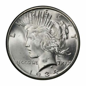 Click now to see the BUY IT NOW Price! 1934 S $1 PEACE DOLLAR PCGS MS65   CAC  3200 1 BLAST WHITE