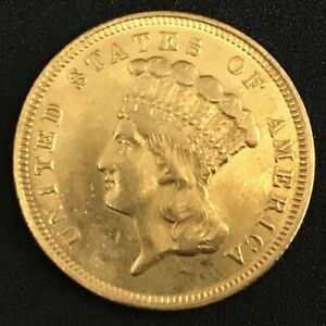 Click now to see the BUY IT NOW Price! 1857 $3 THREE DOLLAR INDIAN PRINCESS HEAD GOLD COIN XF AU DJR COA