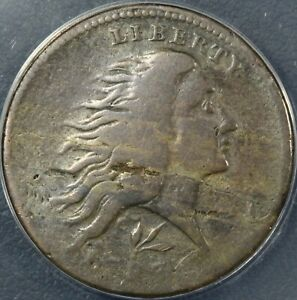 1793 S 11C LETTERED EDGE FLOWING HAIR WREATH CENT ANACS VG 08   OBV LAMINATION