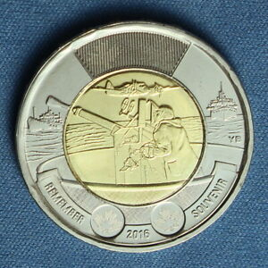 CANADA 2016 TOONIE 2$ FROM A MINT ROLL  SPECIAL BATTLE OF THE ATLANTIC REVERSE