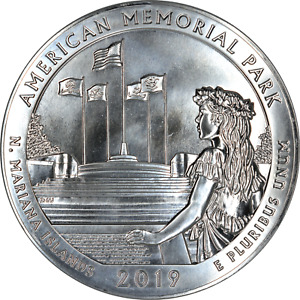 AMERICA THE BEAUTIFUL 2019 AMERICAN MEMORIAL 5 OZ SILVER 999 FINE 25C BU UNC